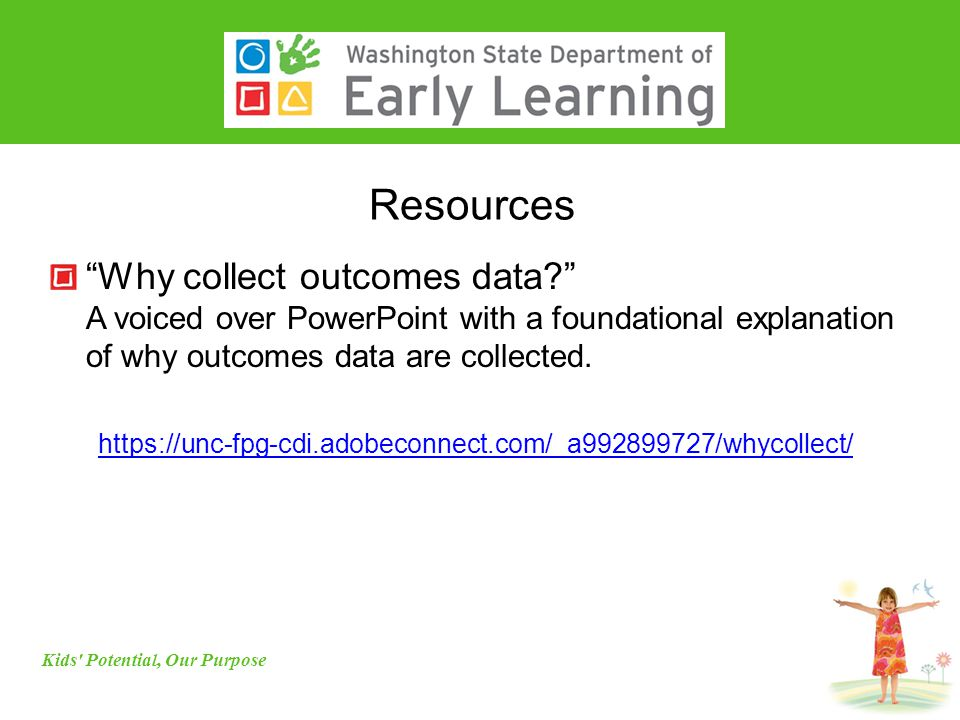 Resources Why collect outcomes data? A voiced over PowerPoint with a foundational explanation of why outcomes data are collected.