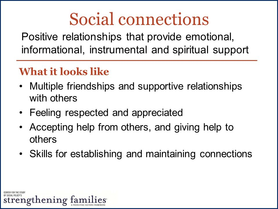 Social connections What it looks like Multiple friendships and supportive relationships with others Feeling respected and appreciated Accepting help f