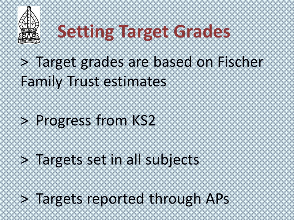 > Target grades are based on Fischer Family Trust estimates > Progress from KS2 > Targets set in all subjects > Targets reported through APs Setting T