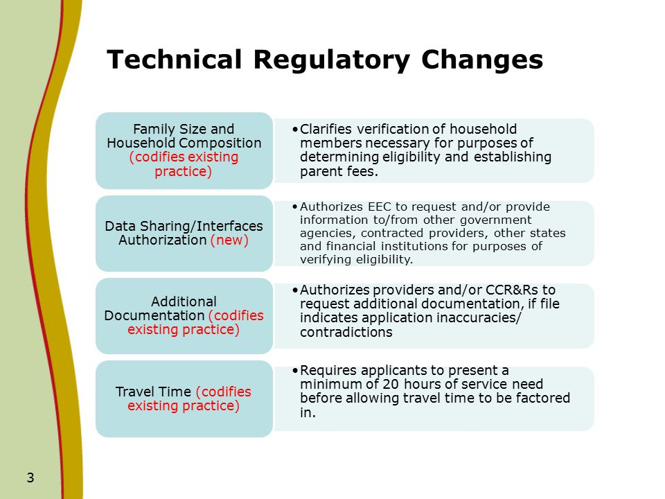 Technical Regulatory Changes Clarifies verification of household members necessary for purposes of determining eligibility and establishing parent fees.