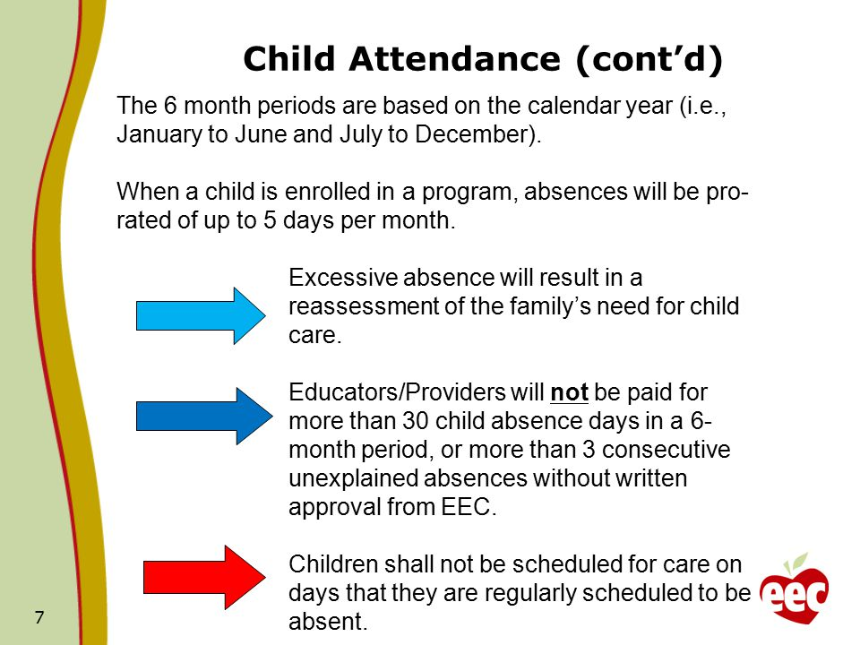 Child Attendance (cont'd) 7 The 6 month periods are based on the calendar year (i.e., January to June and July to December).