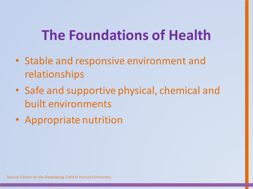 The Foundations of Health Stable and responsive environment and relationships Safe and supportive physical, chemical and built environments Appropriat