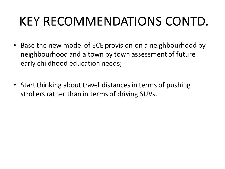 KEY RECOMMENDATIONS CONTD.