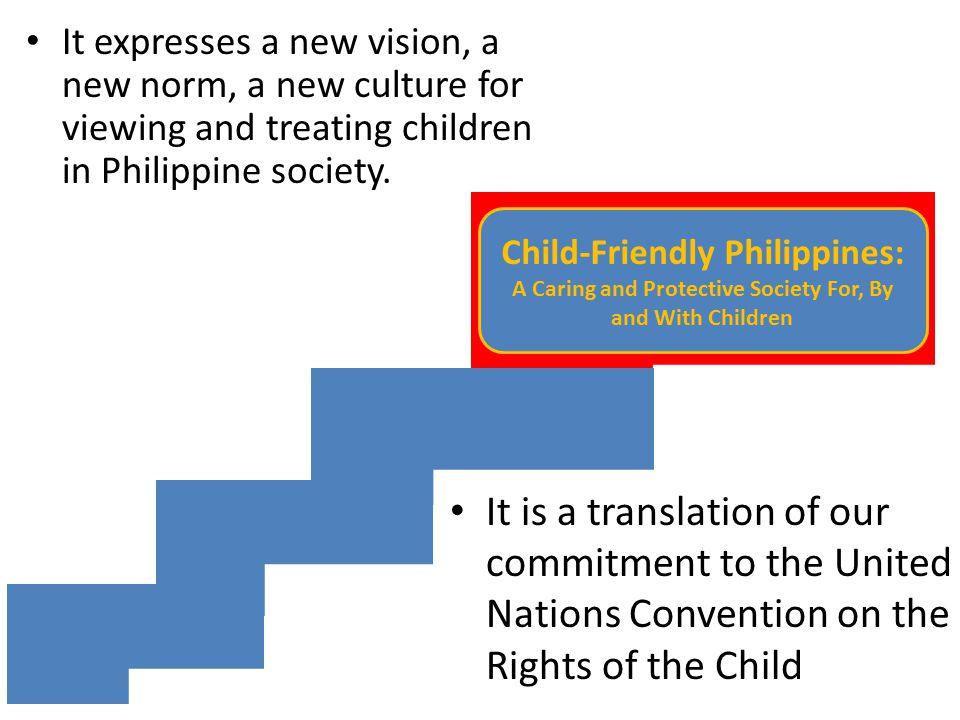 Child-Friendly Philippines: A Caring and Protective Society For, By and With Children It is a translation of our commitment to the United Nations Conv