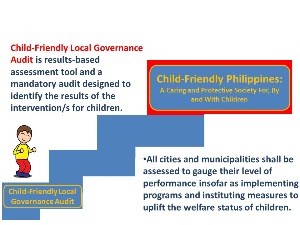 Child-Friendly Local Governance Audit Child-Friendly Philippines: A Caring and Protective Society For, By and With Children Child-Friendly Local Gover