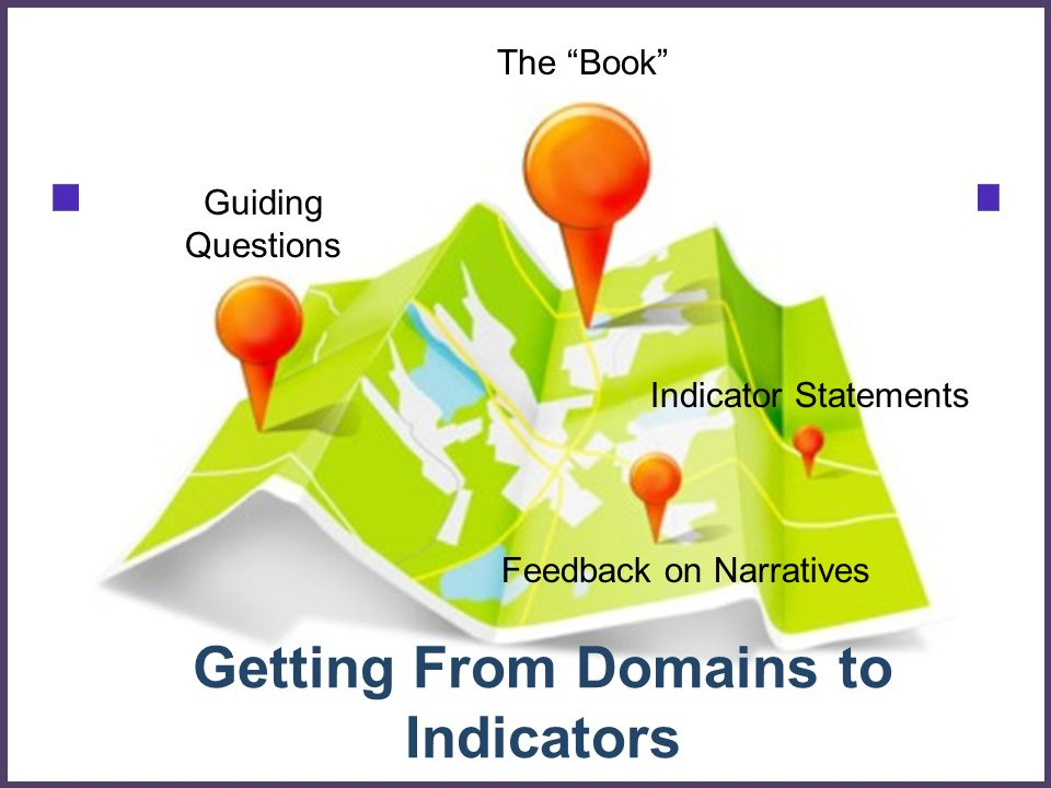 Getting From Domains to Indicators The Book Guiding Questions Feedback on Narratives Indicator Statements