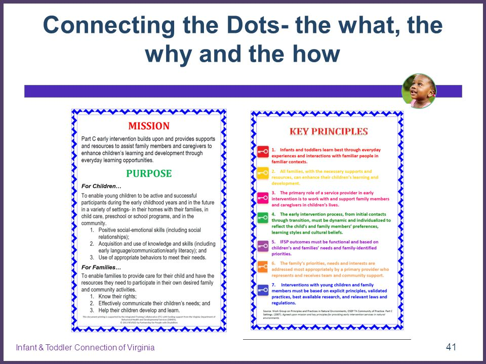 Connecting the Dots- the what, the why and the how 41 Infant & Toddler Connection of Virginia