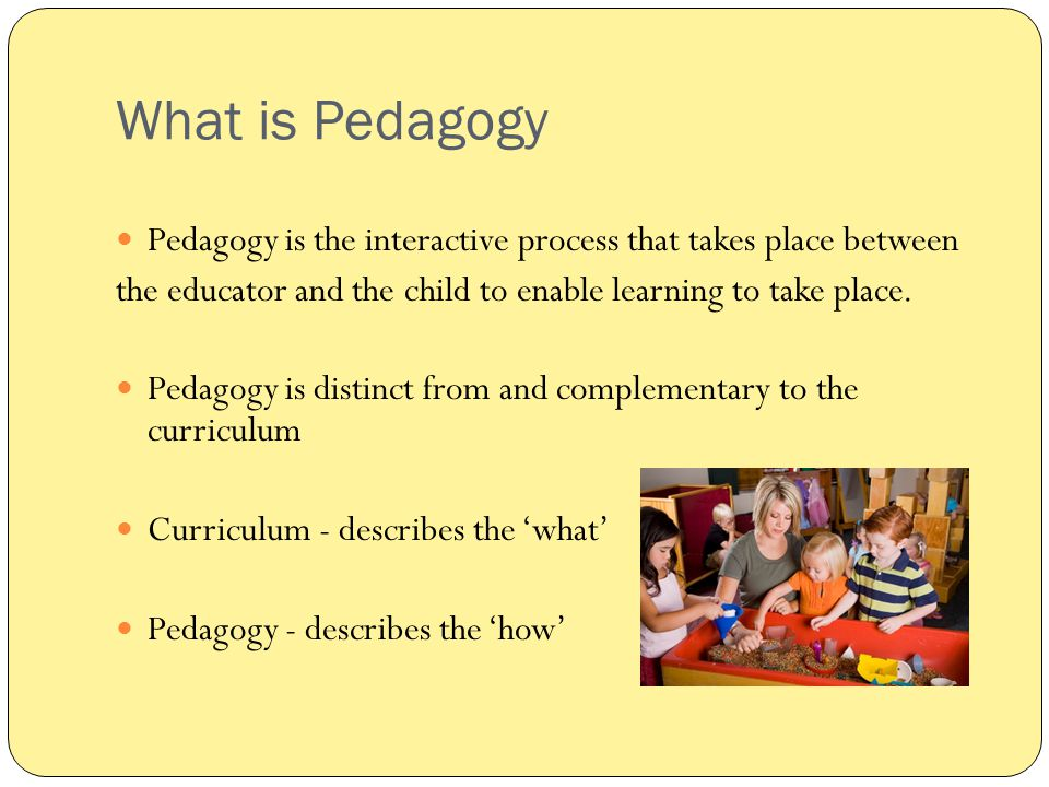 What is Pedagogy Pedagogy is the interactive process that takes place between the educator and the child to enable learning to take place. Pedagogy is