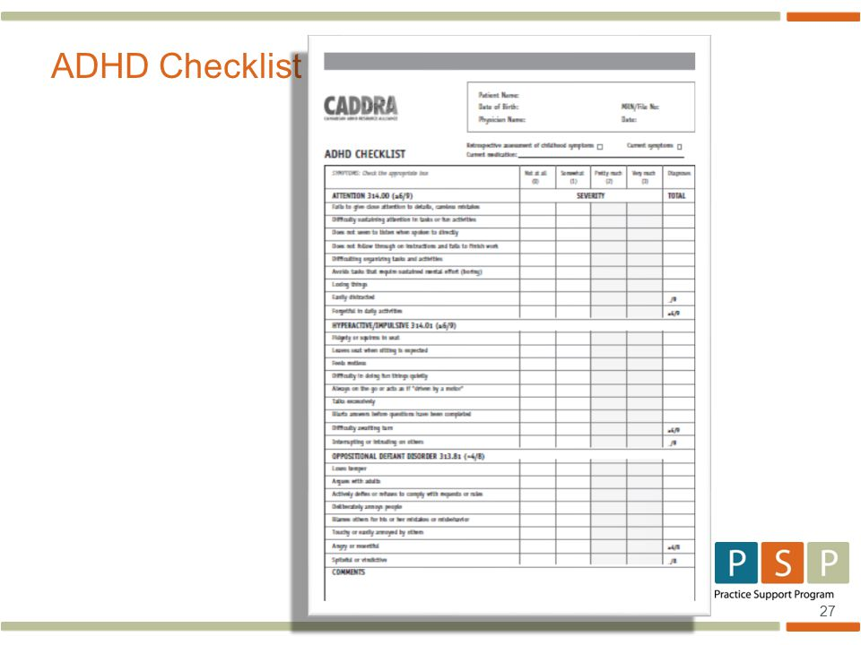 27 ADHD Checklist