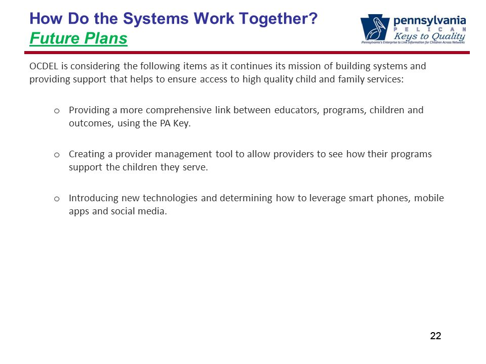 22 How Do the Systems Work Together.