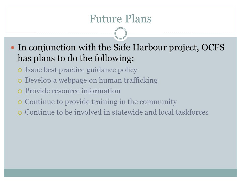 Future Plans In conjunction with the Safe Harbour project, OCFS has plans to do the following:  Issue best practice guidance policy  Develop a webpa