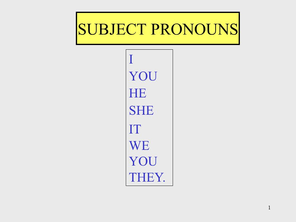 1 SUBJECT PRONOUNS I YOU HE SHE IT WE YOU THEY.