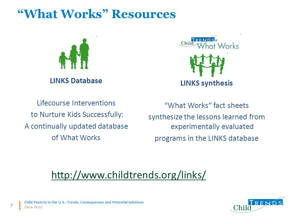 "7 Child Poverty in the U.S.: Trends, Consequences and Potential Solutions Zakia Redd ""What Works"" Resources LINKS Database Lifecourse Interventions to"
