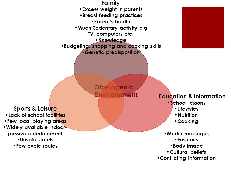 Obesogenic Environement Family Excess weight in parents Breast feeding practices Parent's health Much Sedentary activity e.g TV, computers etc. Knowle