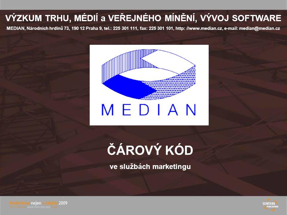 VÝZKUM TRHU, MÉDIÍ a VEŘEJNÉHO MÍNĚNÍ, VÝVOJ SOFTWARE MEDIAN, Národních hrdinů 73, 190 12 Praha 9, tel.: 225 301 111, fax: 225 301 101, http: //www.median.cz, e-mail: median@median.cz ČÁROVÝ KÓD ve službách marketingu