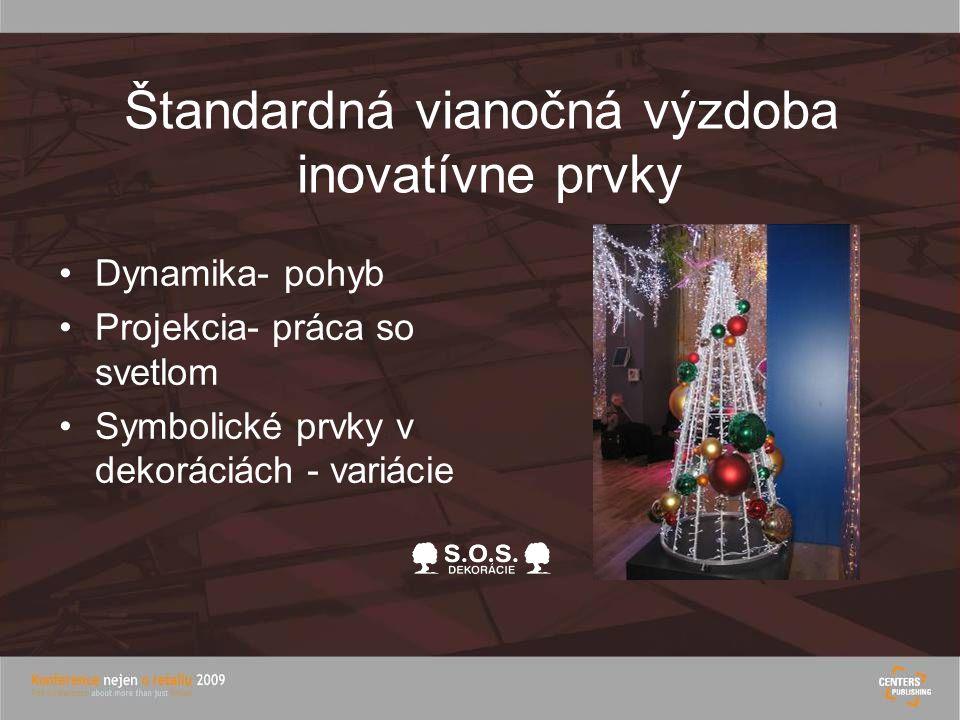 Štandardná vianočná výzdoba inovatívne prvky Dynamika- pohyb Projekcia- práca so svetlom Symbolické prvky v dekoráciách - variácie