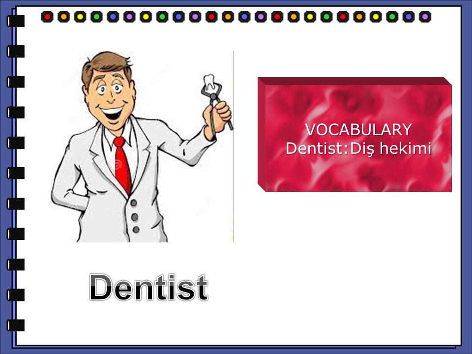 VOCABULARY Dentist:Diş hekimi