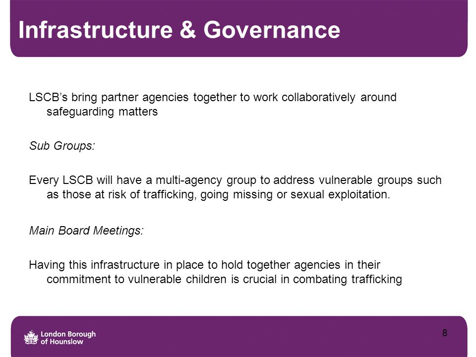 Infrastructure & Governance LSCB's bring partner agencies together to work collaboratively around safeguarding matters Sub Groups: Every LSCB will hav