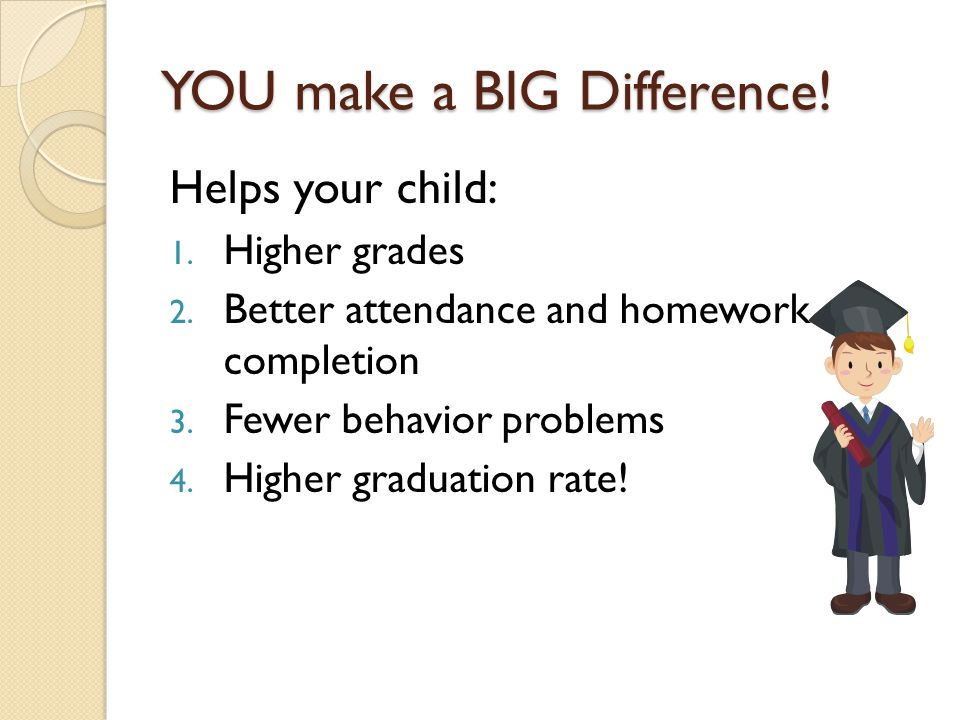 YOU make a BIG Difference! Helps your child: 1. Higher grades 2. Better attendance and homework completion 3. Fewer behavior problems 4. Higher gradua