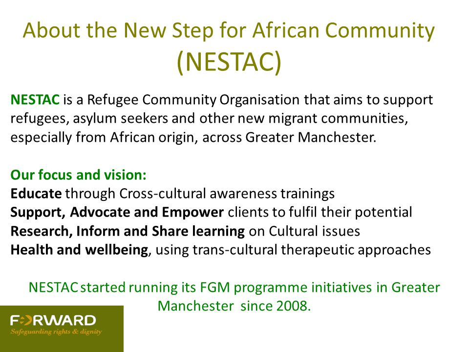 About the New Step for African Community (NESTAC) NESTAC is a Refugee Community Organisation that aims to support refugees, asylum seekers and other n