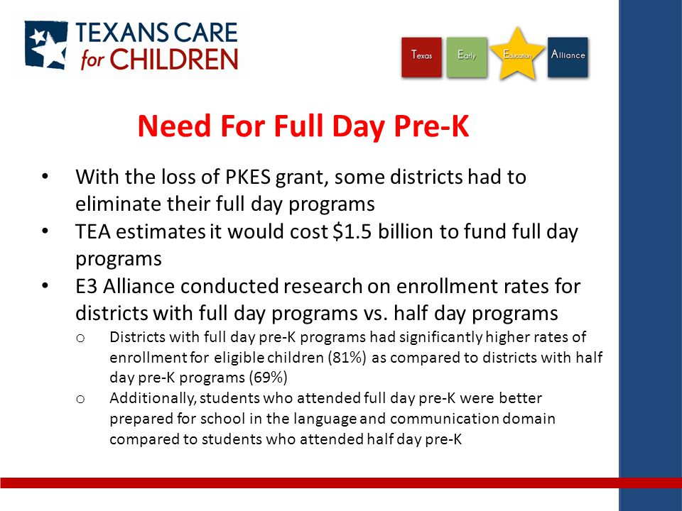 Need For Full Day Pre-K With the loss of PKES grant, some districts had to eliminate their full day programs TEA estimates it would cost $1.5 billion to fund full day programs E3 Alliance conducted research on enrollment rates for districts with full day programs vs.