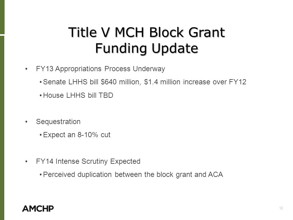 Title V MCH Block Grant Funding Update FY13 Appropriations Process Underway Senate LHHS bill $640 million, $1.4 million increase over FY12 House LHHS bill TBD Sequestration Expect an 8-10% cut FY14 Intense Scrutiny Expected Perceived duplication between the block grant and ACA 12