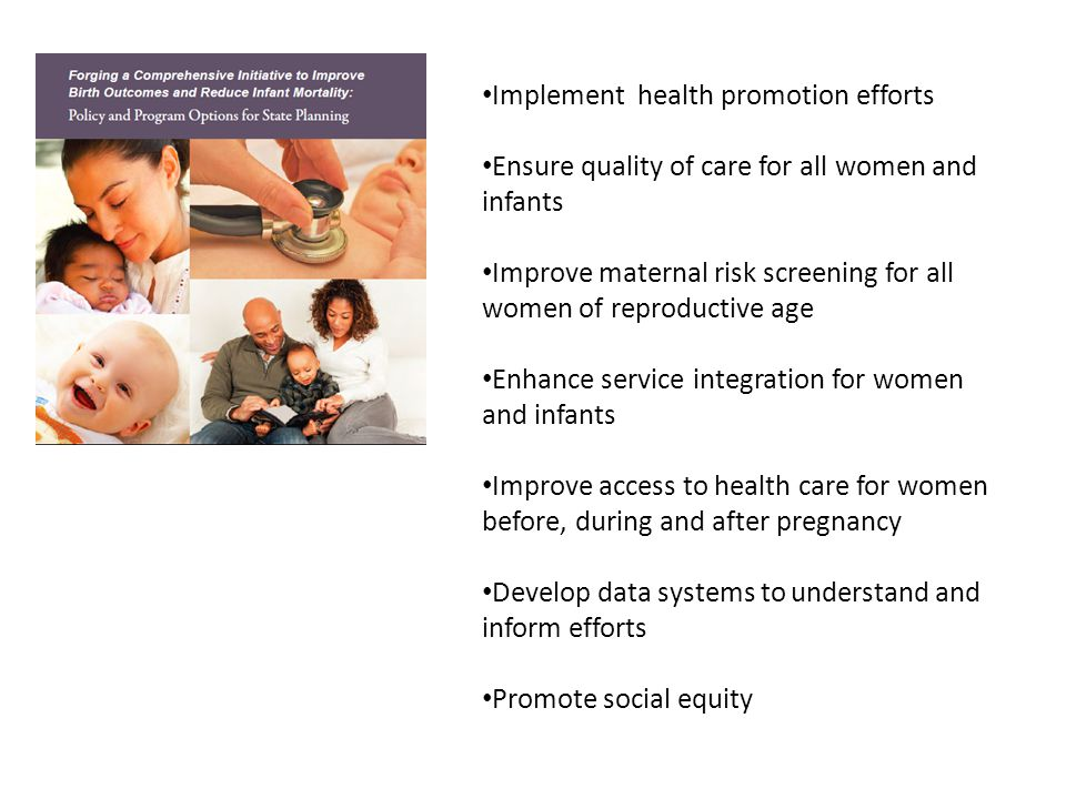 Implement health promotion efforts Ensure quality of care for all women and infants Improve maternal risk screening for all women of reproductive age Enhance service integration for women and infants Improve access to health care for women before, during and after pregnancy Develop data systems to understand and inform efforts Promote social equity