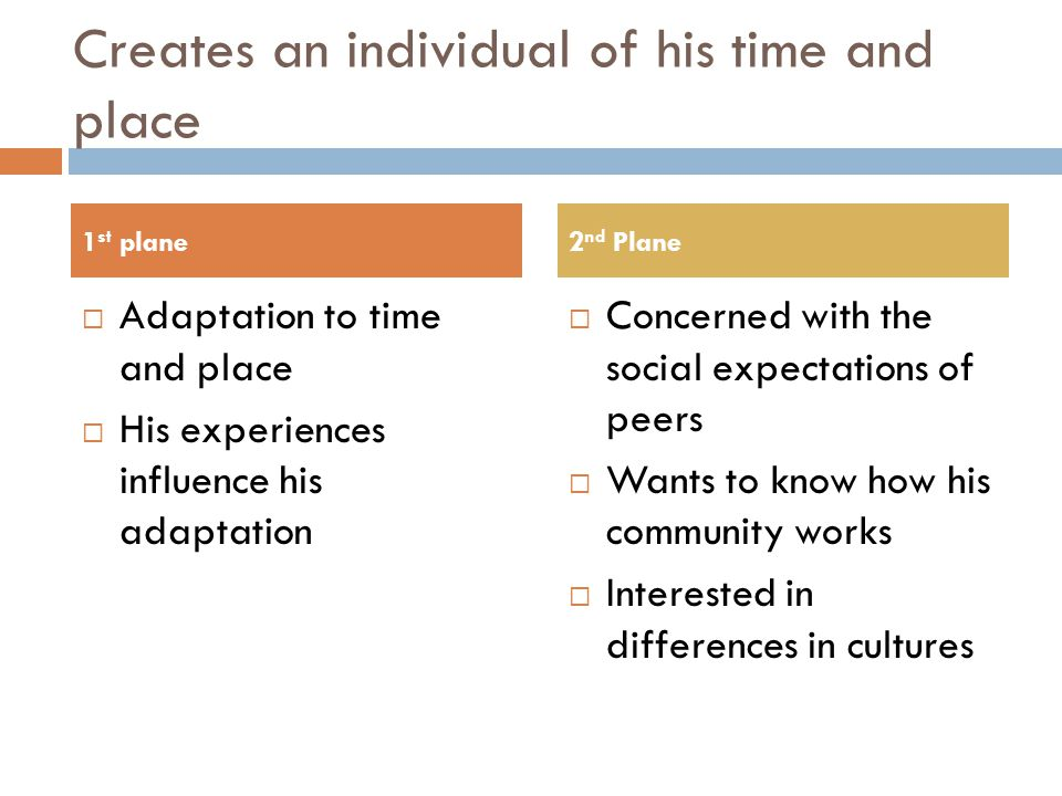 Creates an individual of his time and place  Adaptation to time and place  His experiences influence his adaptation  Concerned with the social expectations of peers  Wants to know how his community works  Interested in differences in cultures 1 st plane2 nd Plane