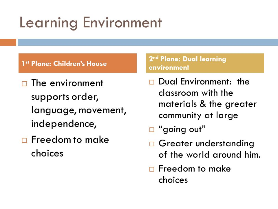 Learning Environment  The environment supports order, language, movement, independence,  Freedom to make choices  Dual Environment: the classroom with the materials & the greater community at large  going out  Greater understanding of the world around him.
