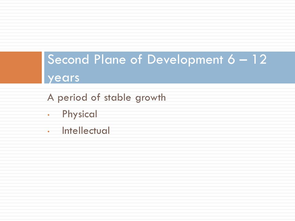 A period of stable growth Physical Intellectual Second Plane of Development 6 – 12 years