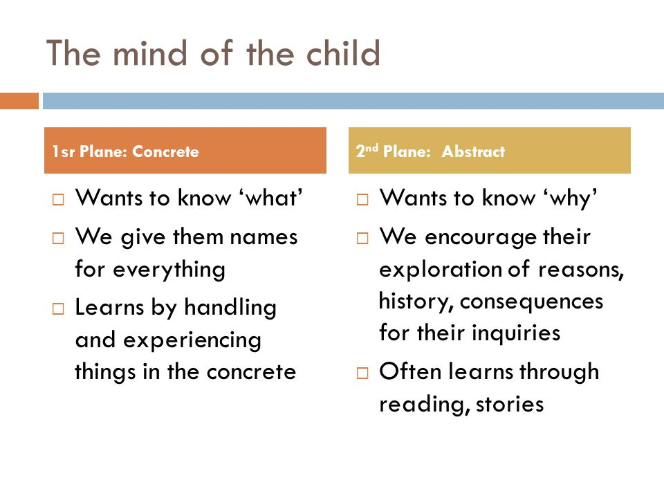 The mind of the child  Wants to know 'what'  We give them names for everything  Learns by handling and experiencing things in the concrete  Wants to know 'why'  We encourage their exploration of reasons, history, consequences for their inquiries  Often learns through reading, stories 1sr Plane: Concrete2 nd Plane: Abstract