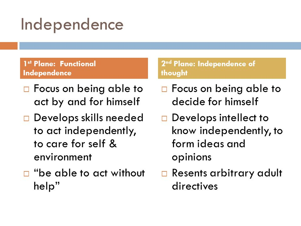 Independence  Focus on being able to act by and for himself  Develops skills needed to act independently, to care for self & environment  be able to act without help  Focus on being able to decide for himself  Develops intellect to know independently, to form ideas and opinions  Resents arbitrary adult directives 1 st Plane: Functional Independence 2 nd Plane: Independence of thought