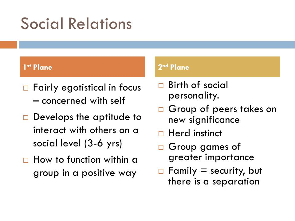 Social Relations  Fairly egotistical in focus – concerned with self  Develops the aptitude to interact with others on a social level (3-6 yrs)  How to function within a group in a positive way  Birth of social personality.