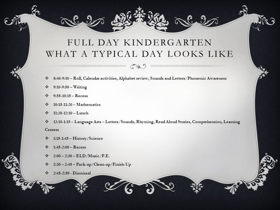 FULL DAY KINDERGARTEN WHAT A TYPICAL DAY LOOKS LIKE  8:40-9:10 – Roll, Calendar activities, Alphabet review, Sounds and Letters/Phonemic Awareness  9:10-9:50 – Writing  9:55-10:15 – Recess  10:15-11:20 – Mathematics  11:20-12:10 – Lunch  12:10-1:15 – Language Arts – Letters/Sounds, Rhyming, Read Aloud Stories, Comprehension, Learning Centers  1:15-1:45 – History/Science  1:45-2:00 – Recess  2:00 – 2:30 – ELD/Music/P.E.