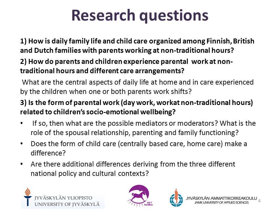 1) How is daily family life and child care organized among Finnish, British and Dutch families with parents working at non-traditional hours.
