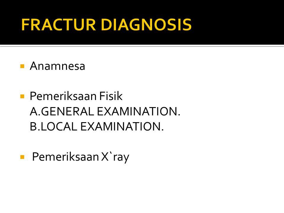  Anamnesa  Pemeriksaan Fisik A.GENERAL EXAMINATION. B.LOCAL EXAMINATION.  Pemeriksaan X`ray