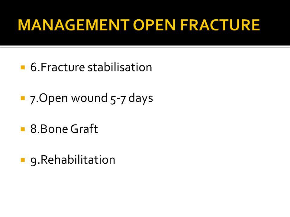  6.Fracture stabilisation  7.Open wound 5-7 days  8.Bone Graft  9.Rehabilitation