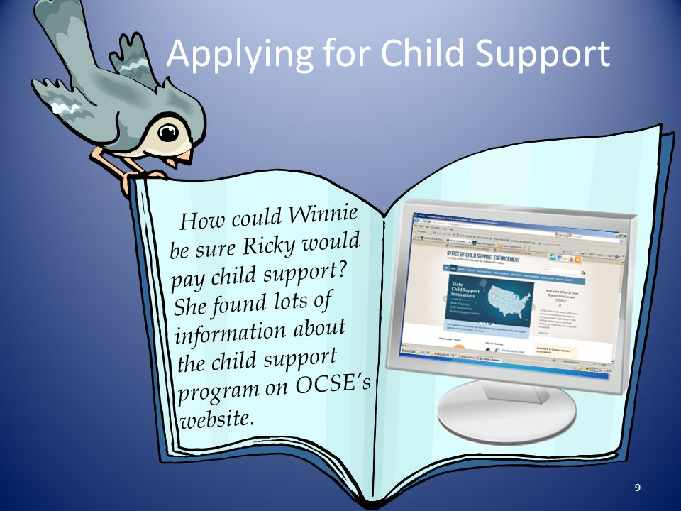 The Child Support Program Established under Title IV-D of the Social Security Act Charged with locating noncustodial parents, establishing paternity and child support orders, enforcing child and medical support orders Partnership between the public and private sectors 10