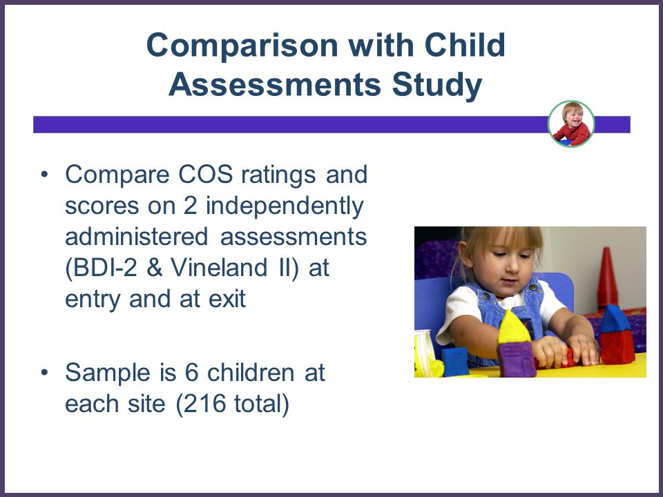 Comparison with Child Assessments Study Compare COS ratings and scores on 2 independently administered assessments (BDI-2 & Vineland II) at entry and at exit Sample is 6 children at each site (216 total)