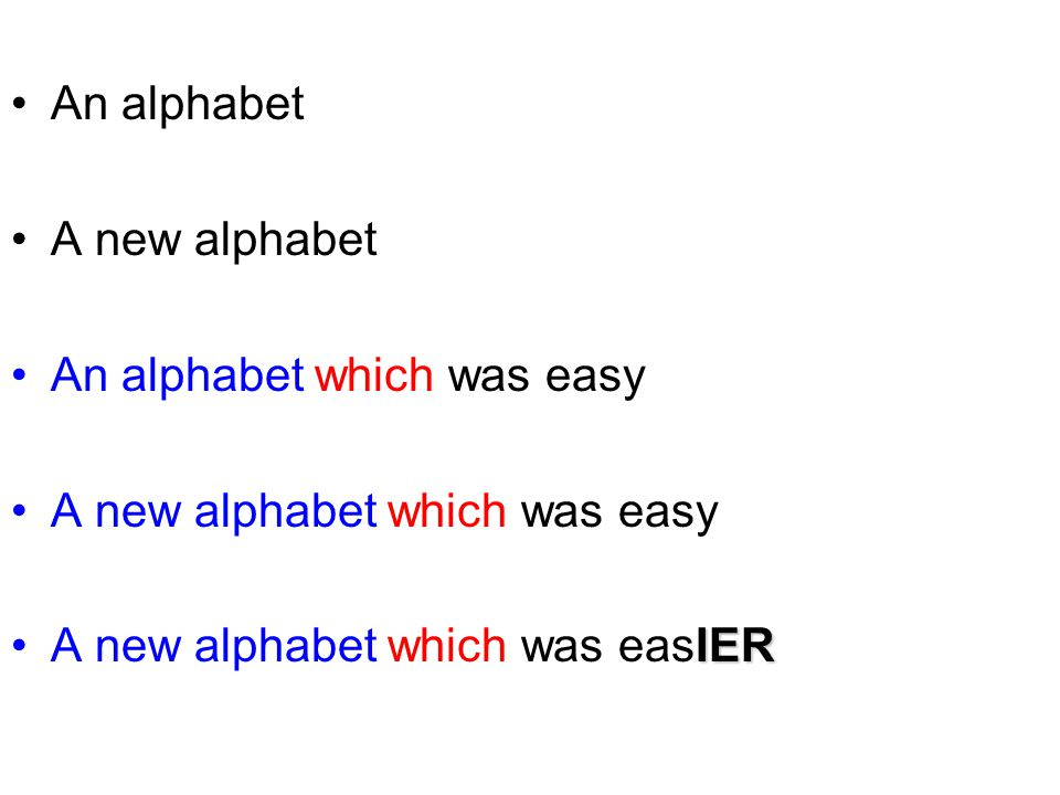 An alphabet A new alphabet An alphabet which was easy A new alphabet which was easy A new alphabet which was easIER
