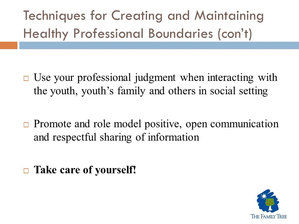 Techniques for Creating and Maintaining Healthy Professional Boundaries (con't)  Use your professional judgment when interacting with the youth, yout