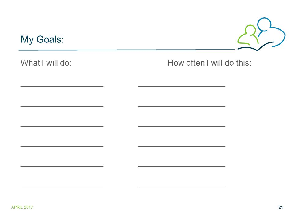 My Goals: What I will do:How often I will do this: _____________________________________ APRIL 201321