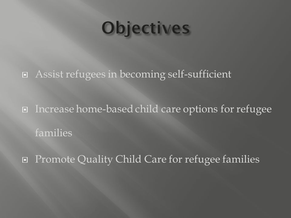  Assist refugees in becoming self-sufficient  Increase home-based child care options for refugee families  Promote Quality Child Care for refugee families
