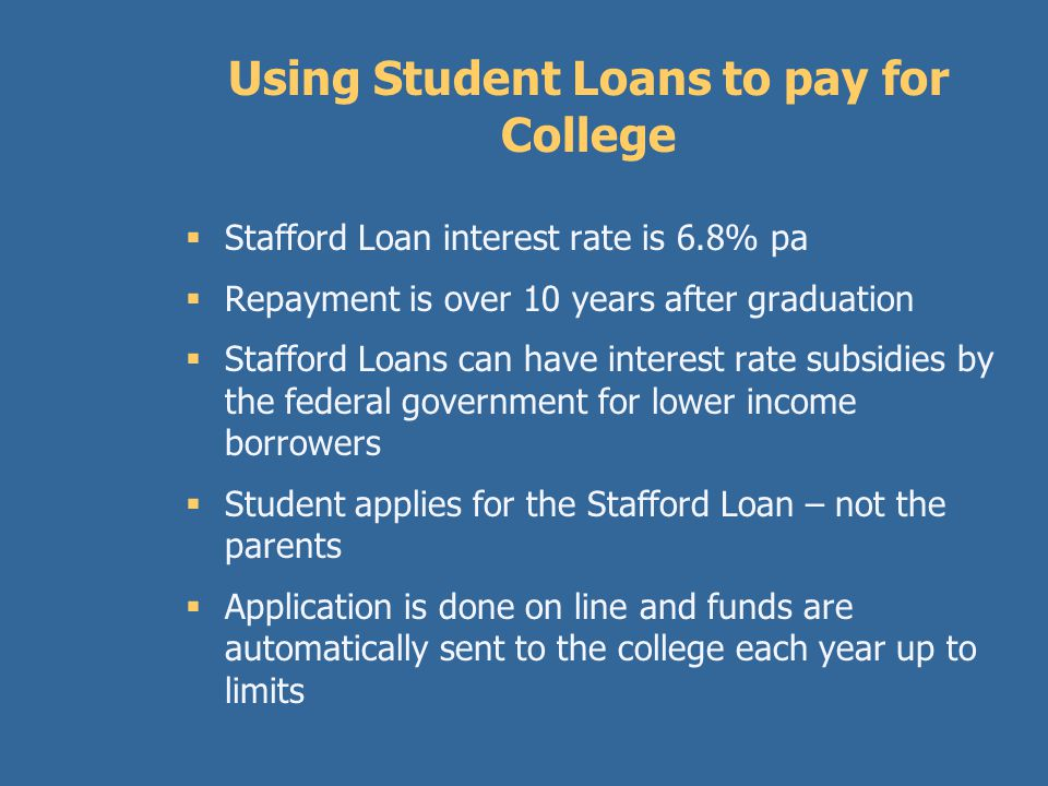 The Federal Stafford Loan  Always start with federal loans when borrowing to pay for college.