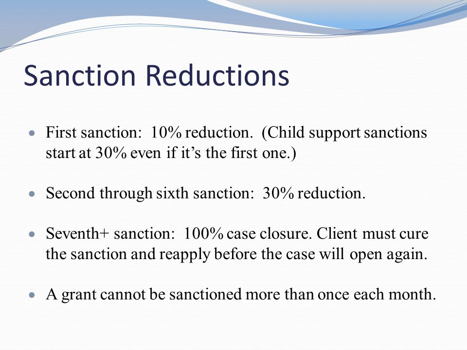 Other Sanction Issues If a client is in sanction during her 60 th month, s/he is not eligible for extensions, so it is important to identify these cases quickly.