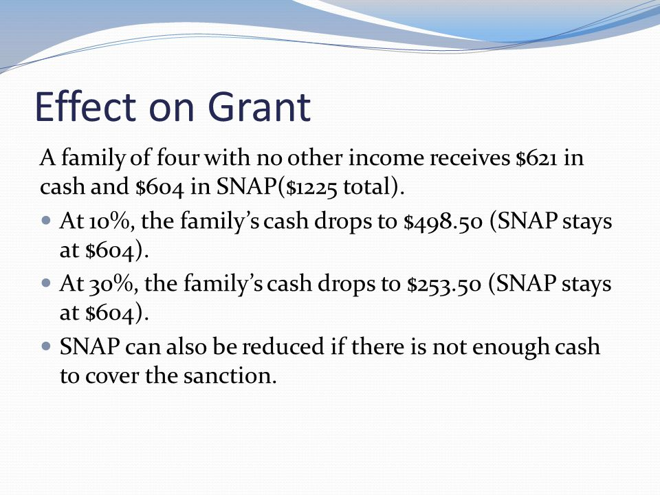 Child Support Sanctions Clients can be sanctioned for noncooperation with child support.