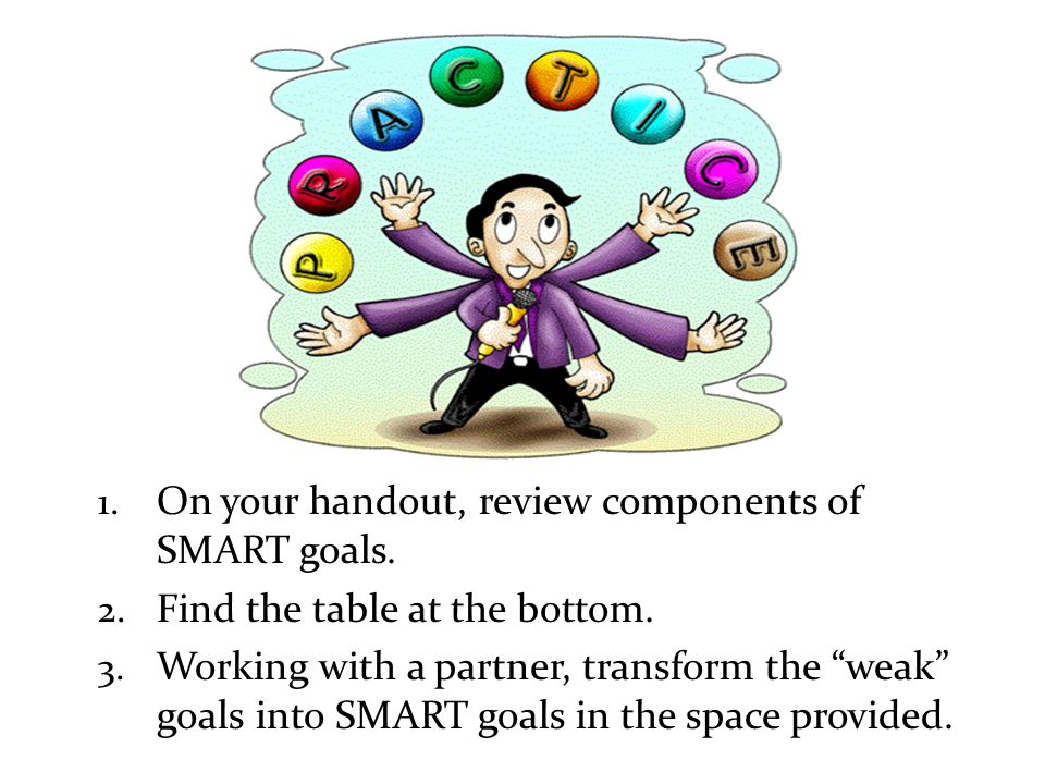 """1. On your handout, review components of SMART goals. 2. Find the table at the bottom. 3. Working with a partner, transform the """"weak"""" goals into SMAR"""