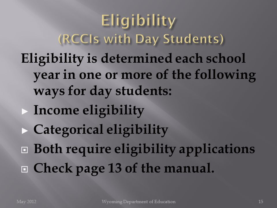 Eligibility is determined each school year in one or more of the following ways for day students: ► Income eligibility ► Categorical eligibility  Both require eligibility applications  Check page 13 of the manual.