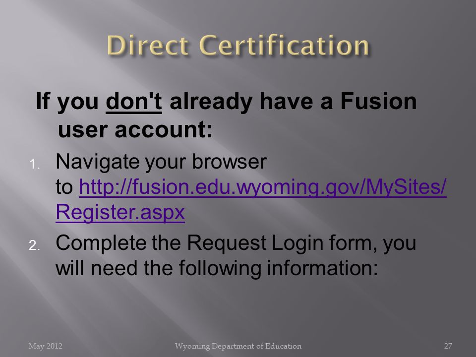 If you don t already have a Fusion user account: 1.