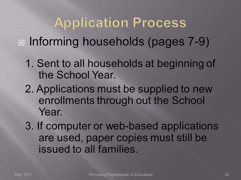  Informing households (pages 7-9) 1. Sent to all households at beginning of the School Year.